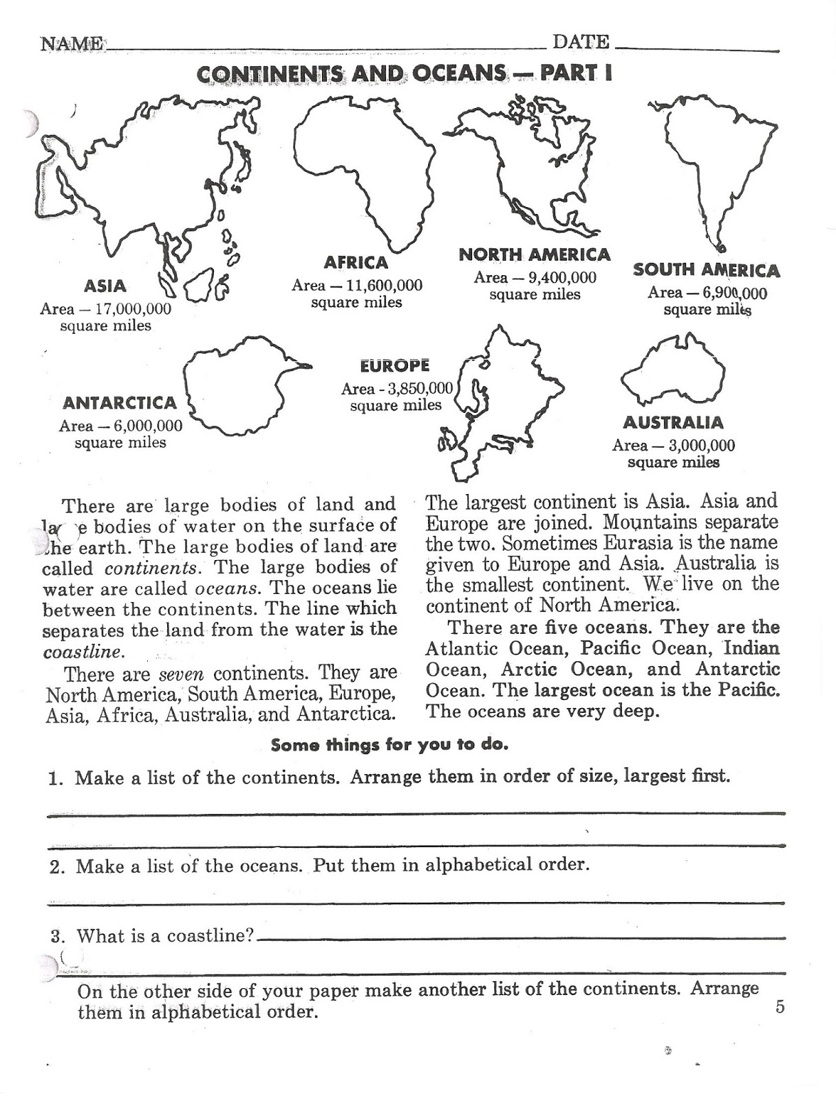 worksheet Continents And Oceans For Kids Worksheets oceans and continents worksheet free worksheets library download mr st nt