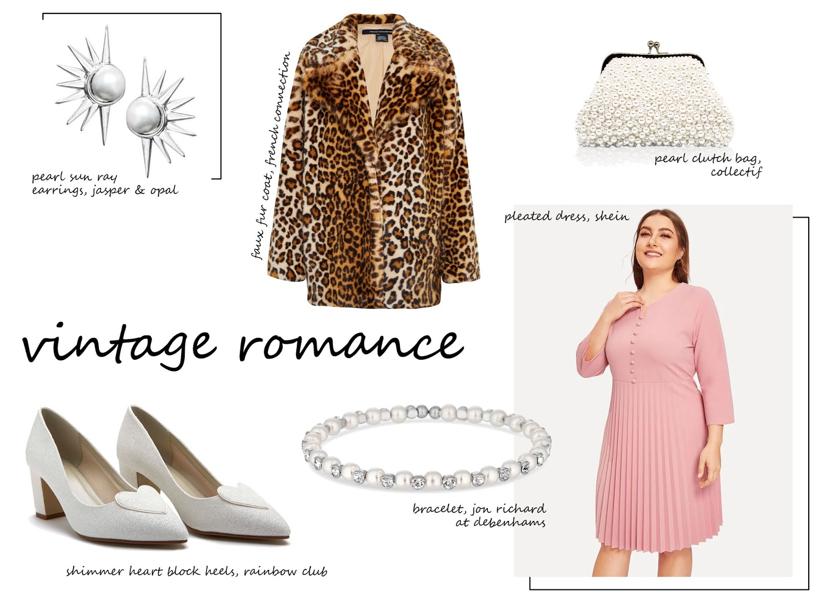 9fdeaad6b7 Rose Pleated Dress - Shein | Faux Fur Coat - French Connection | Shimmer  Heart Block Heels - Rainbow Club | Claudia Pearl Clutch Bag - Collectif |  Pearl Sun ...
