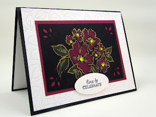 Hand-Penned Petals gold embossed on black and colored with watercolor pencils. Inspirec by Norwegian Bunads
