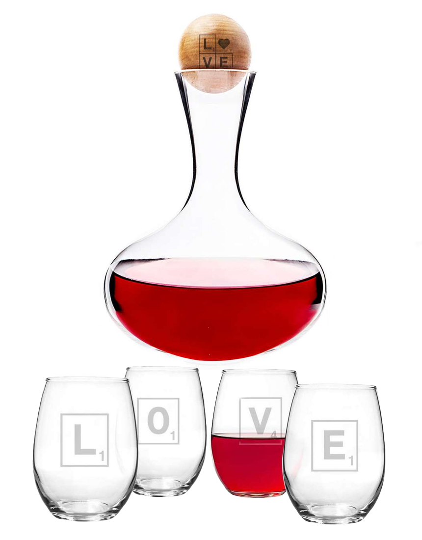 Cathy's Concept Valentine Glass 6-Piece Decanter & Glasses Set