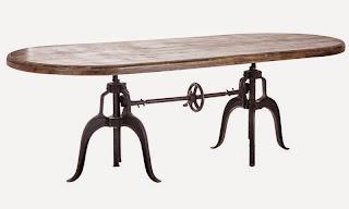 Mesa comedor madera y hierro colado