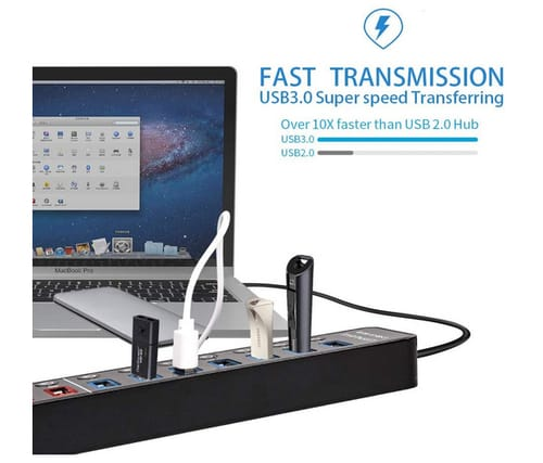 LYFNLOVE Powered 11 Port USB Hub