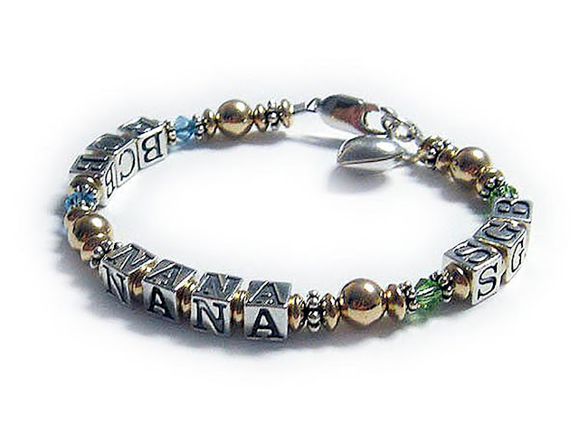 NANA Bracelet with Initials and Birthstone Crystals