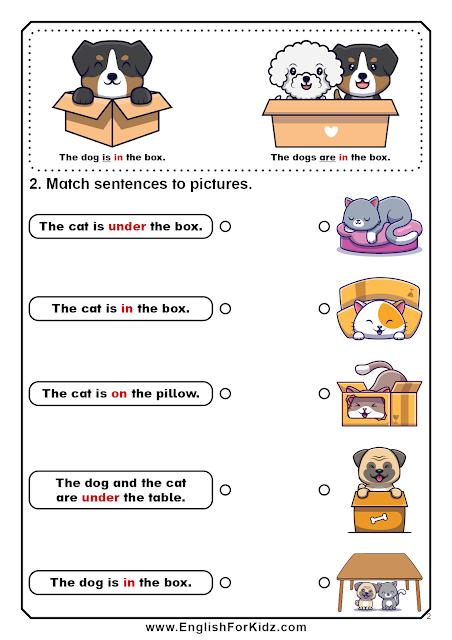Prepositions of place worksheets - grade 1 - ESL printables