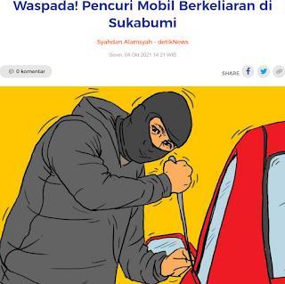 Waspada! Pencuri Mobil Berkeliaran di Sukabumi