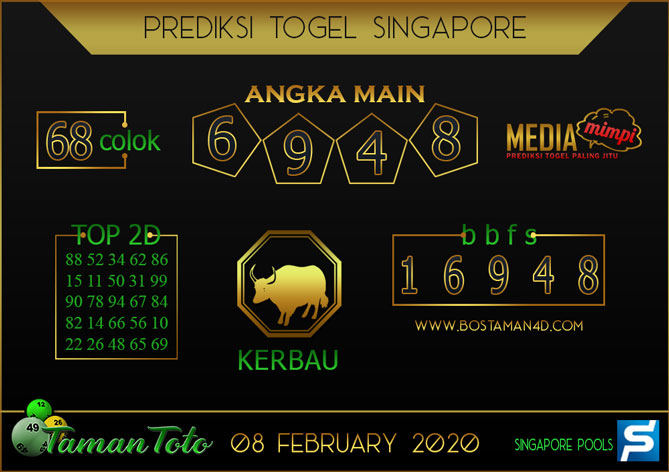 Prediksi Togel SINGAPORE TAMAN TOTO 08 FEBRUARY 2020