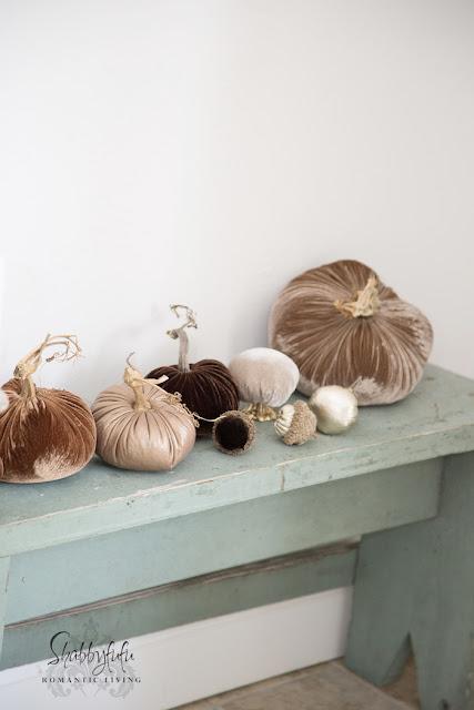 pumpkins on a bench