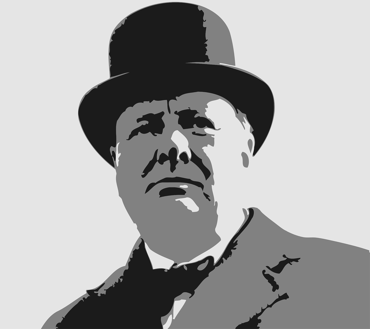 close shot of prime minister Winston Churchill for blog post about movies Darkest hour and 12 strong