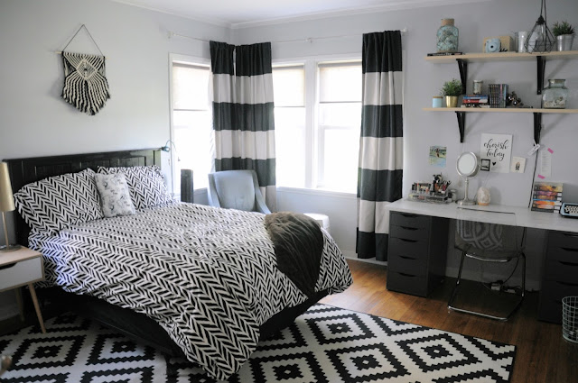 After: Teenaged Girl's Room Black and White Scandinavian Design