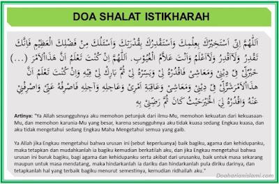 Doa setelah shalat istikharah dan artinya