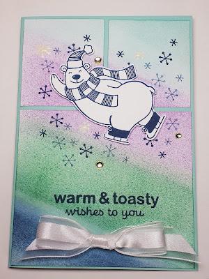 """Eisbär """"Warm & Toasty"""" zwischen Schneekristallen auf der Weihnachtskarte Stampin' Up! www.eris-kreativwerkstatt.blogspot.de"""