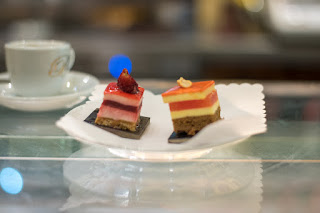 Delicious sweets and coffee at Pasticceria Barberini in Rome, Italy