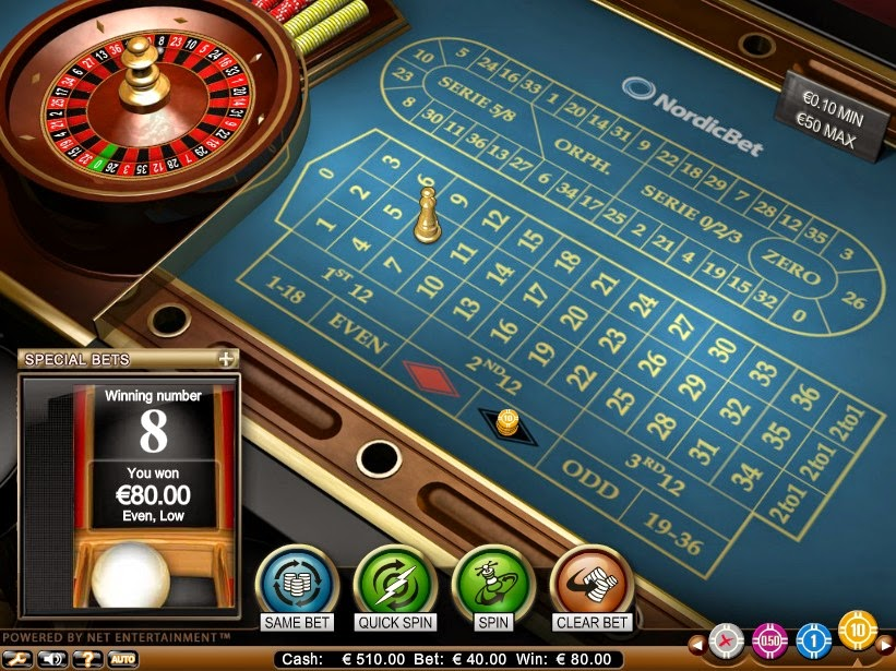 NordicBet Roulette Screen