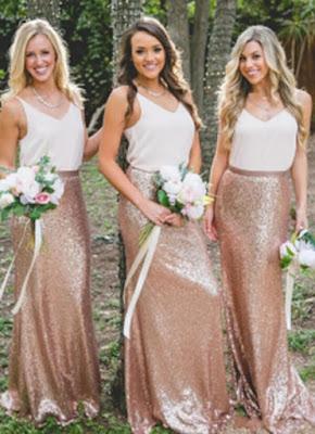 Chic V-Neck Sequins Skirt Bridesmaid Dresses