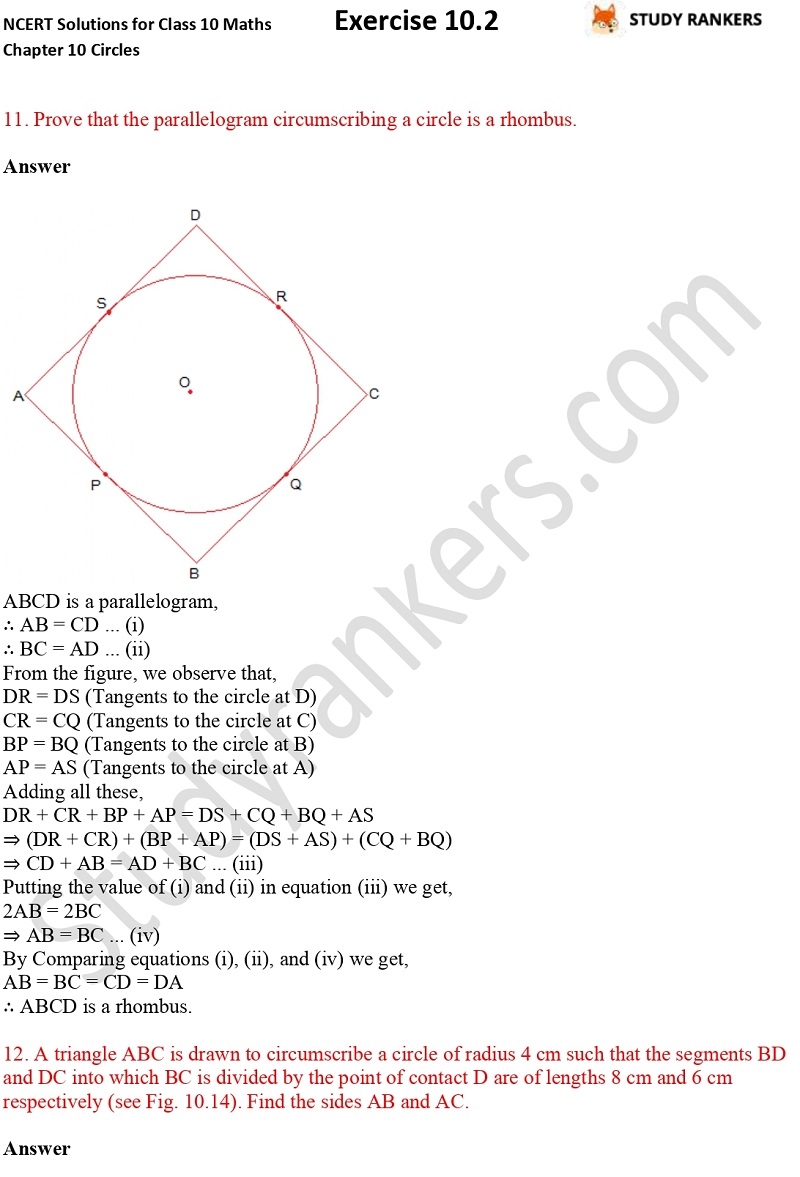 NCERT Solutions for Class 10 Maths Chapter 10 Circles Exercise 10.2 Part 8