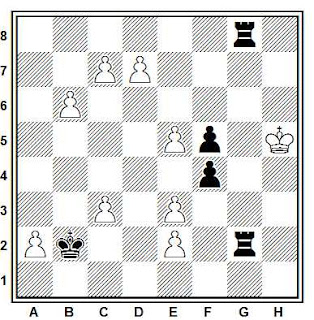 Estudio artístico de ajedrez compuesto por I. Bondar (4º WCCT 1989-1992, 1º Premio)
