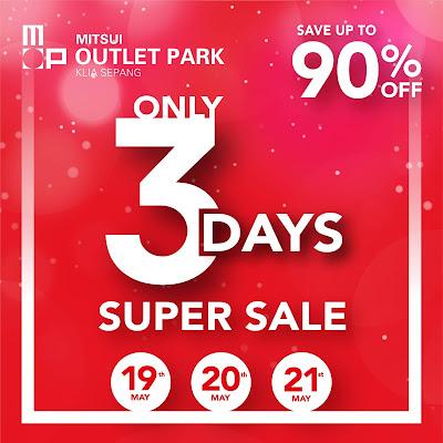 Mitsui Outlet Park KLIA Sepang 3 Days Super Sale Discount Promo