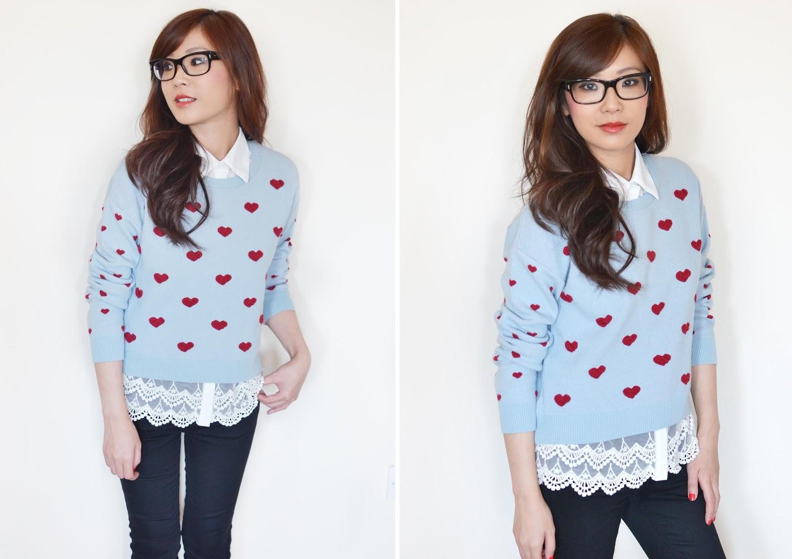 heart print trend, heart print jumper from topshop