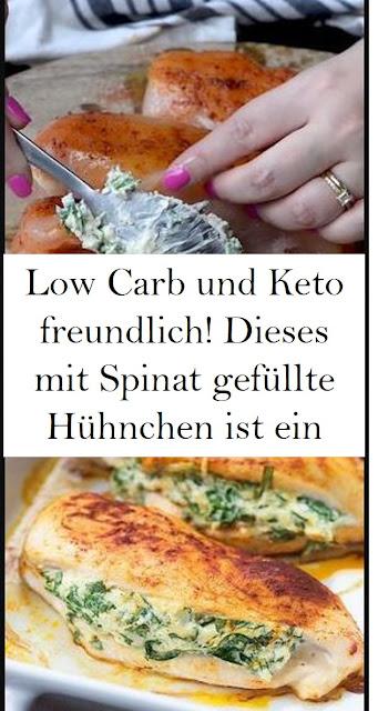 Low Carb und Keto freundlich! Dieses mit Spinat gefüllte Hühnchen ist ein