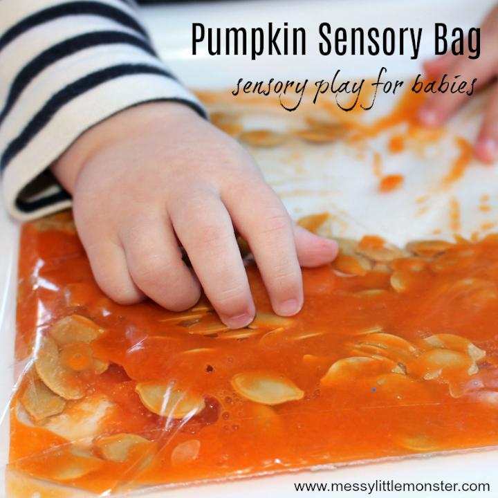 Pumpkin sensory bag activity for babies