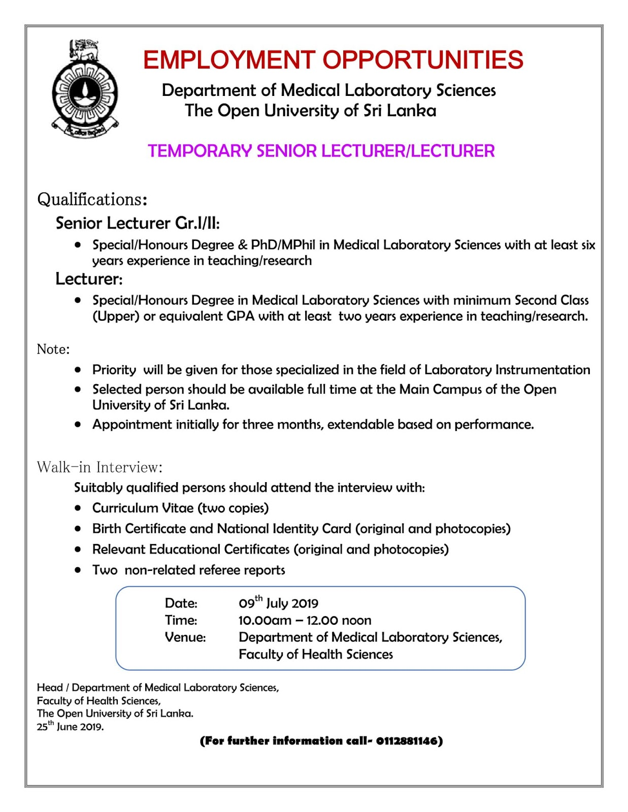 Vacances at Open University of Sri Lanka - Jobspot