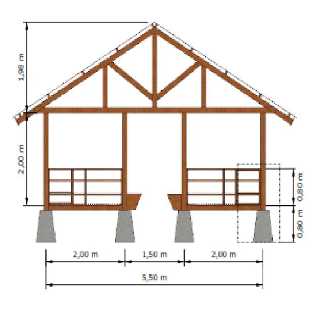 Desain Ukuran Kandang Kambing Bambu Modern Tampak Depan Madani Farm