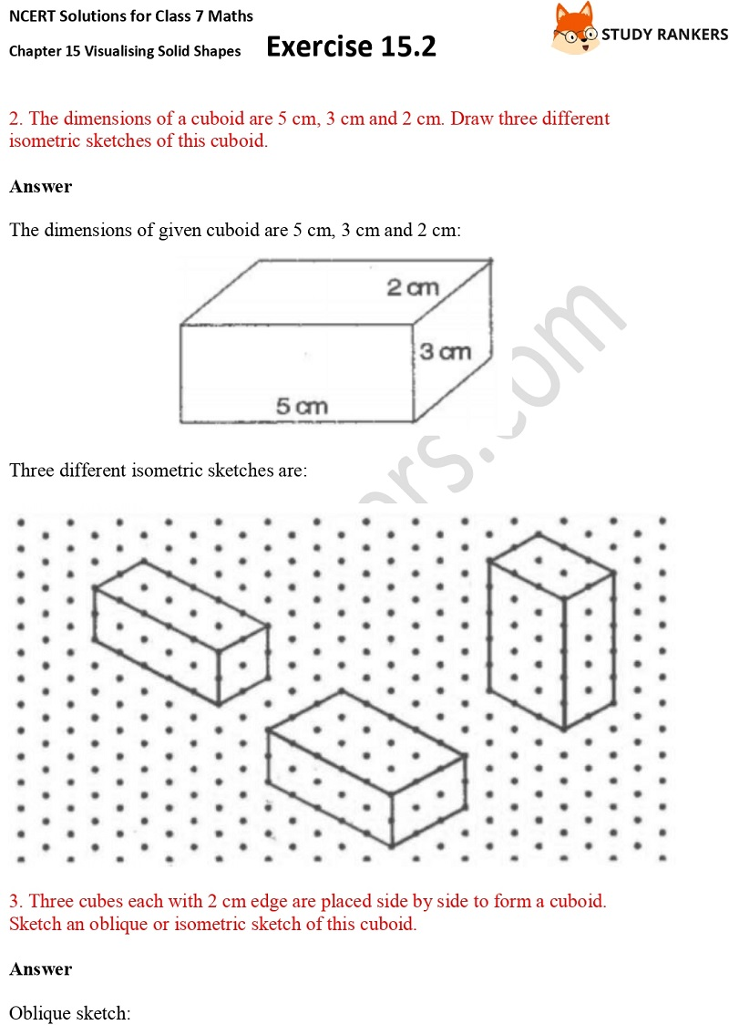NCERT Solutions for Class 7 Maths Chapter 15 Visualising Solid Shapes Exercise 15.2 Part 2