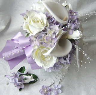 white calla lilies roses lilac hydrangea silk wedding bouquet
