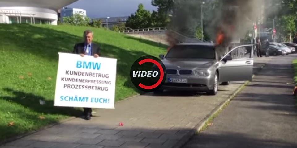 Disgruntled BMW Owner Burns 7-Series Outside Munich HQ