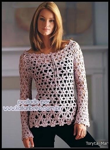 e51f5b71d Blusa de crochê com gráfico do motivo - Katia Ribeiro Crochê Moda e  Decoração