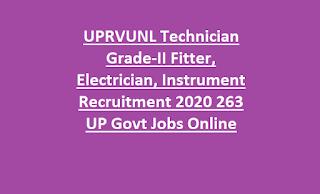 UPRVUNL Technician Grade-II Fitter, Electrician, Instrument Recruitment 2020 263 UP Govt Jobs Online