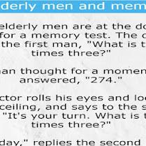 Three elderly men and memory test