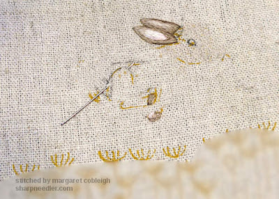 Embroidered ears on hare from Jenny McWhinney's Queen Anne's Lace