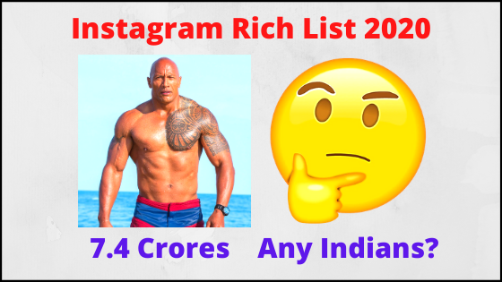 Instagram Rich List 2020 - Who at #1? How Much Earn? Indians?