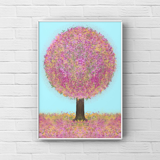 happy Summer artwork depicting a tree with pink and yellow leaves