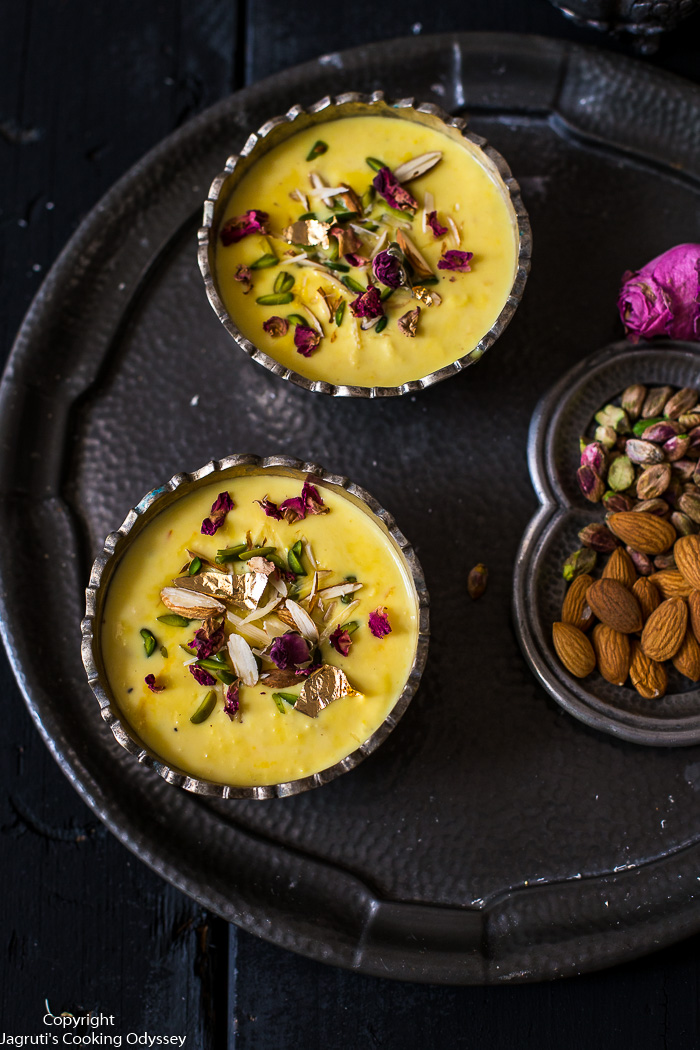 Rich, creamy and moreish, Kesar Lachha Rabdi is a  dessert that hails from North India but is enjoyed throughout India. This dairy-based dessert is eggless and has beautiful texture.   Make this 3 ingredient Kesar Lachha Rabdi by following a few simple steps.    This chilled Rabdi is ideal for a post-curry treat and perfect for entertaining as this can be made well in advance. Here is how to make KESAR LACHHA RABDI.