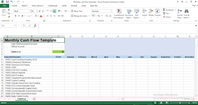 Free Monthly Cash Flow Template in Excel