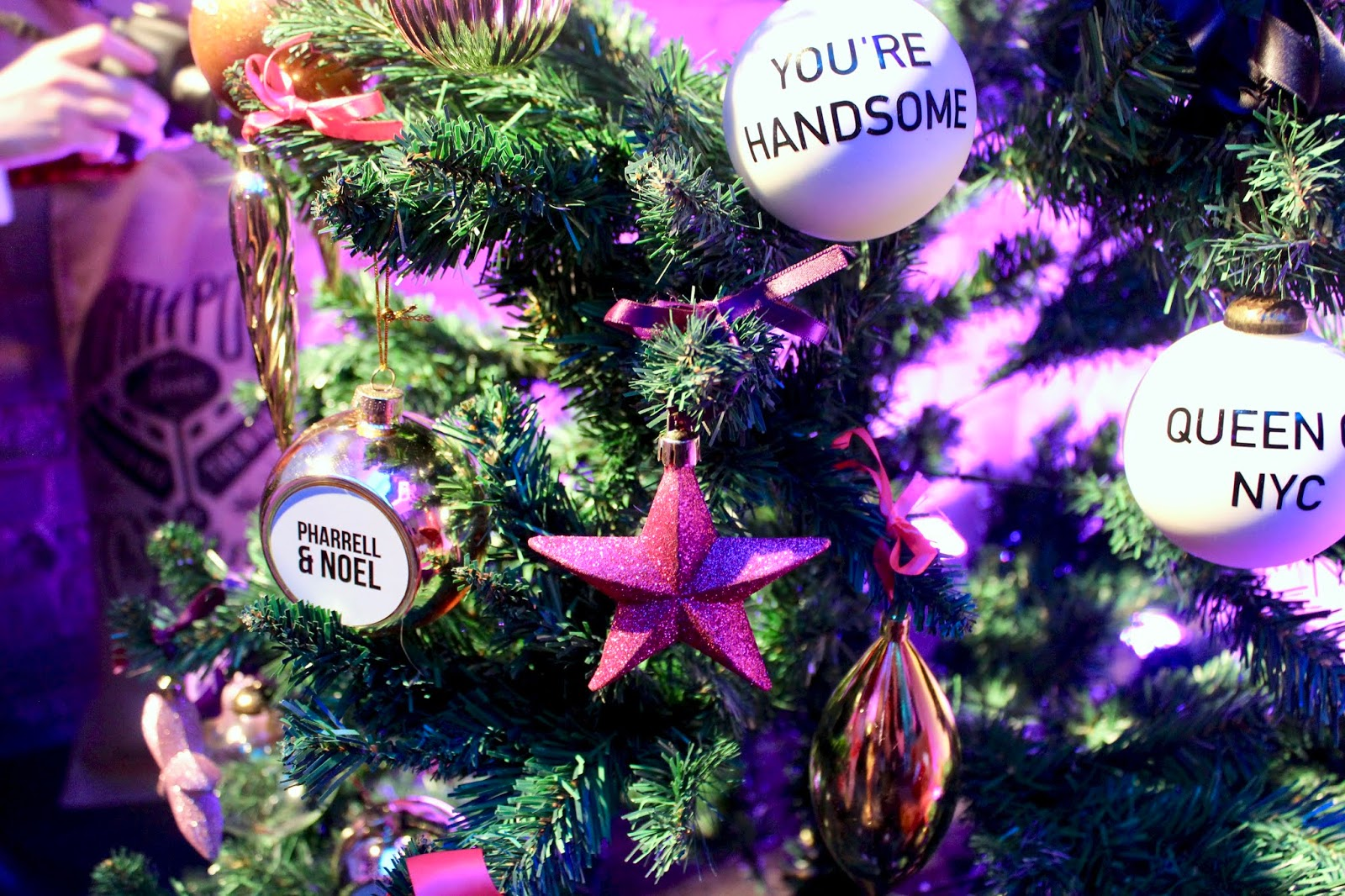 A star bauble on a Christmas tree