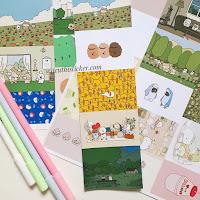 sticker giấy 6 hình washi dán trang trí sổ tay