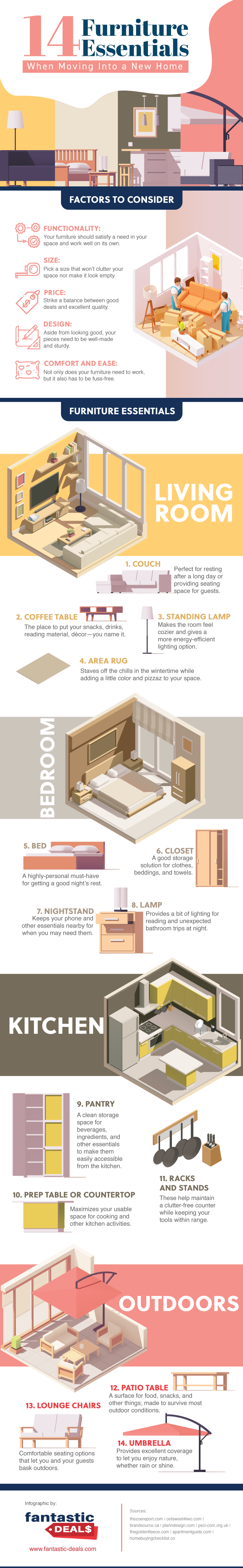 14 Furniture Essentials When Moving Into a New Home #infographic