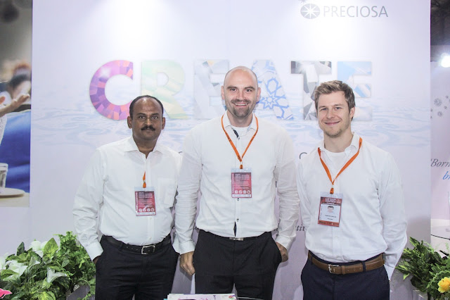 Mr. Venkatesan Sundarrajon, Consultant, Marek Kinazs, Product Manager with Martin Spalek, Key Account Manager- at Preciosa Stall, IIFJAS Exhibition, Mumbai