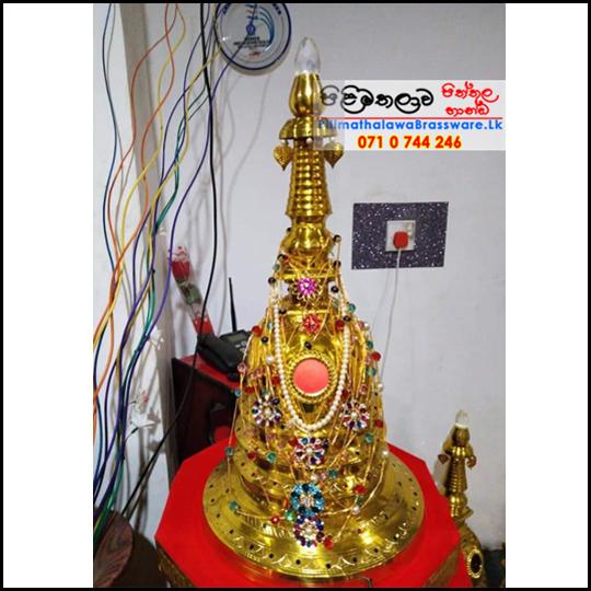 Gold Plated Brass Karaduwa - 1.5 feet - (Pagoda, Chaithya) with Lense - අඩි 1.5 ක් උස රන් ආලේපිත කරඩු වහන්සේ
