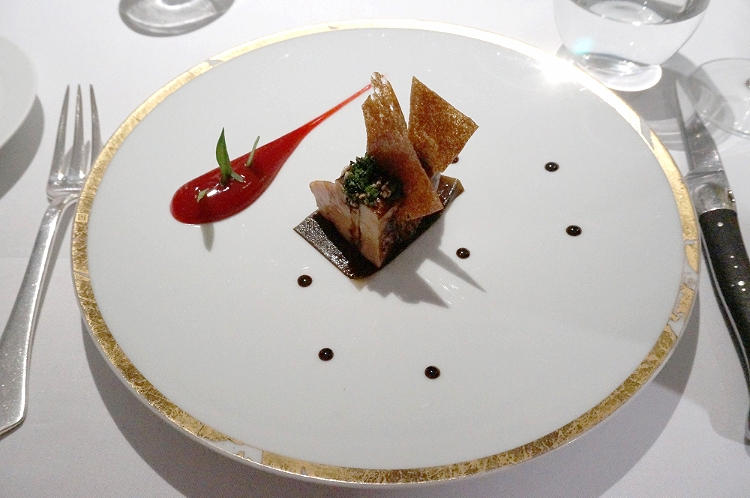 Euriental | dinner at the Fat Duck, Bray, by Heston Blumenthal. Roasted foie gras with barberry.