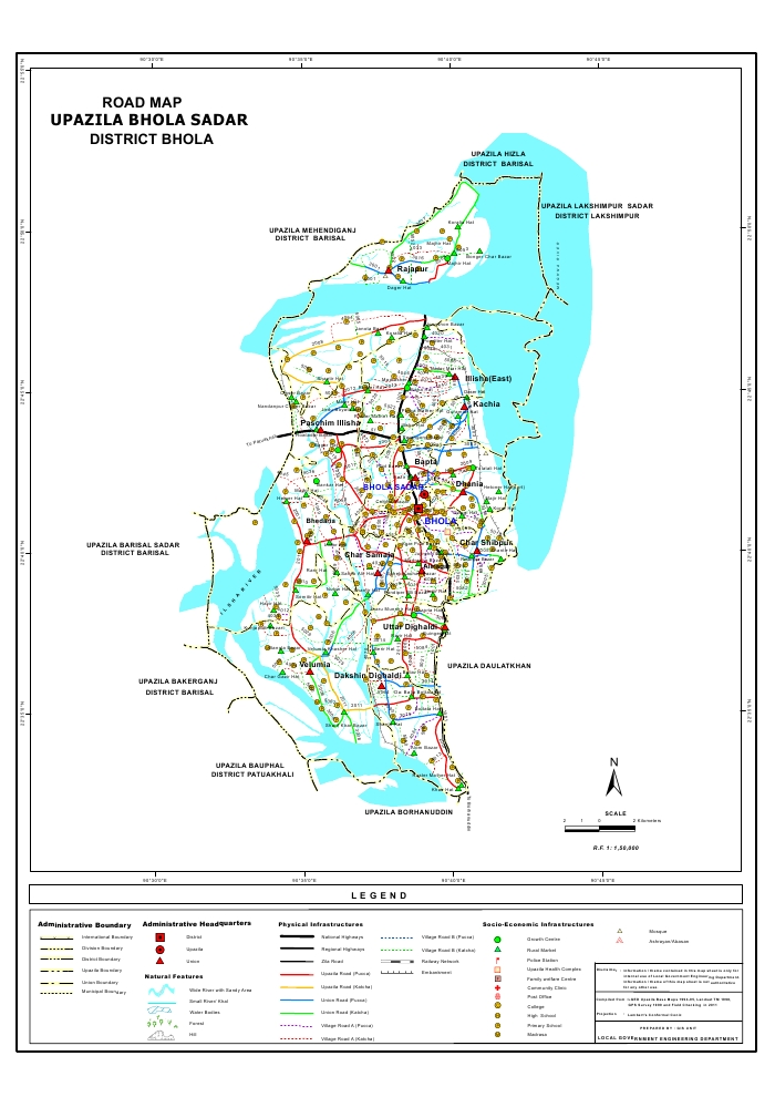 Bhola Sadar Upazila Road Map Bhola District Bangladesh