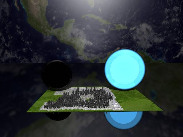 comparação de tamanho entre uma estrela de nêutrons, um buraco negro e o planeta Terra