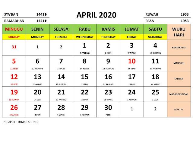Kalender 2020 Jawa Bulan April