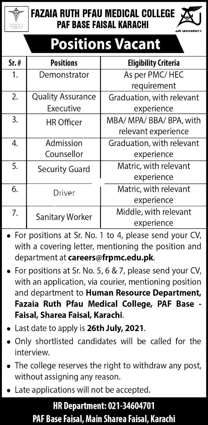 Fazaia Ruth PFAU Medical College Laetst Jobs For HR officer, Driver, Admission Counselor  & Other