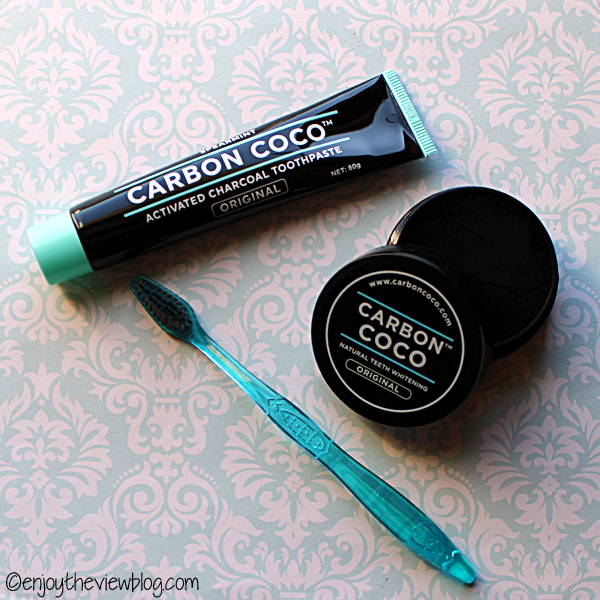 Carbon Coco powder and toothpaste, with a toothbrush