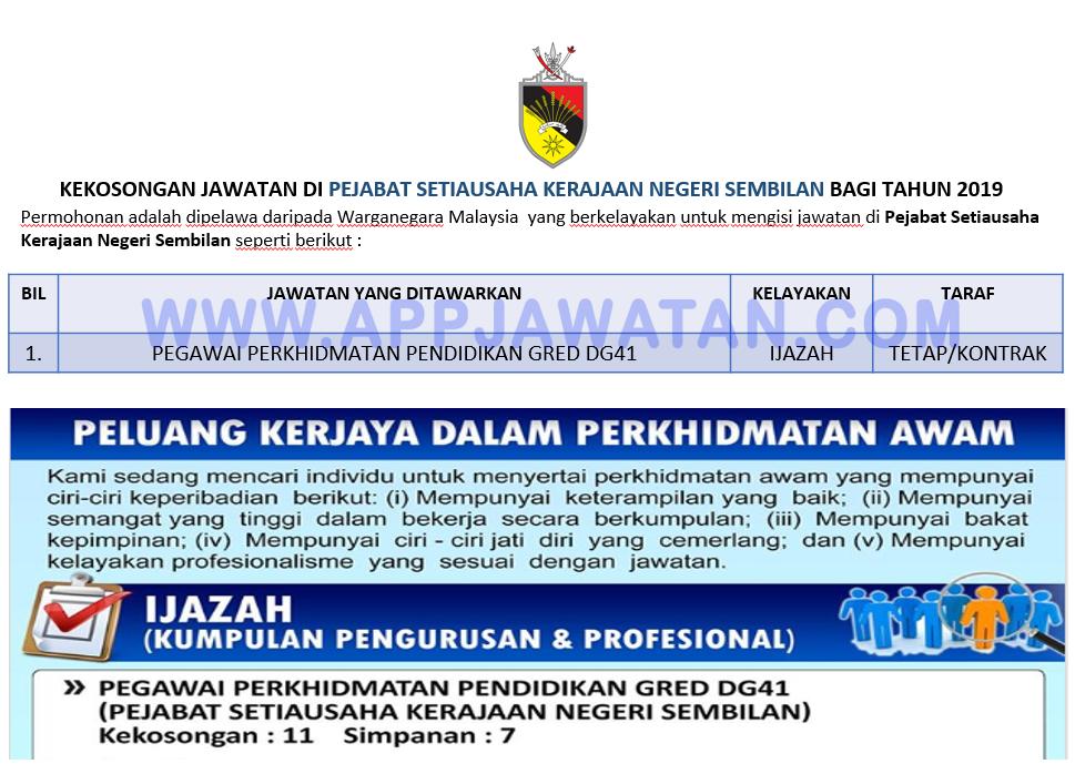 Jawatan Kosong Terkini Di Pejabat Setiausaha Kerajaan Negeri Sembilan Appjawatan Malaysia