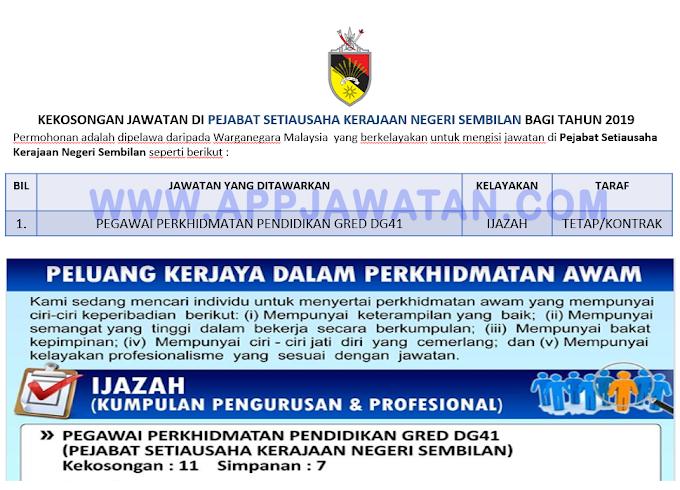 Jawatan Kosong Terkini di Pejabat Setiausaha Kerajaan Negeri Sembilan.
